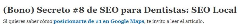 Ejemplo de Texto ancla para 'posicionarte de #1 en Google maps'