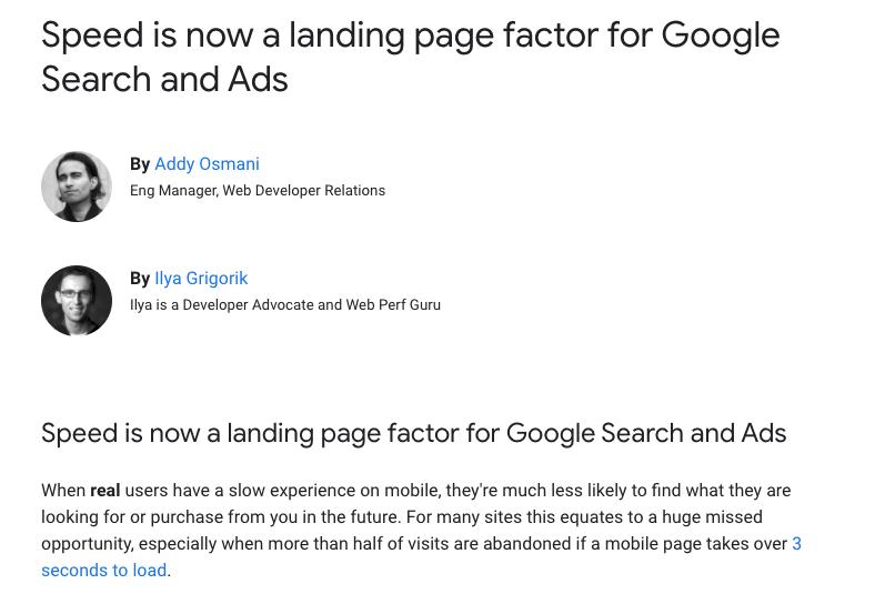 La velocidad ahora es un factor para las Landing Pages en Google Ads y Search