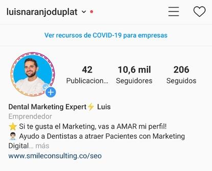 Perfil de Instagram de Luis Naranjo Duplat